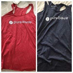 Pure Barre Classic Racerback Tanks in Red and Blue